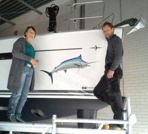 Blue Marlin gestickerd